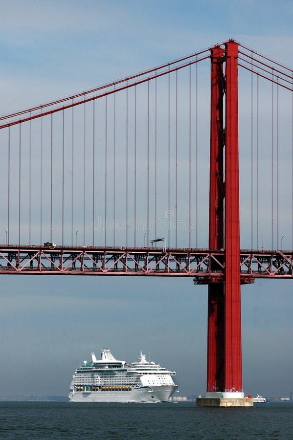 Barco de cruceros y el puente imagen de archivo