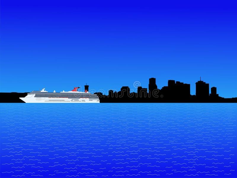 Barco de cruceros y New Orleans stock de ilustración