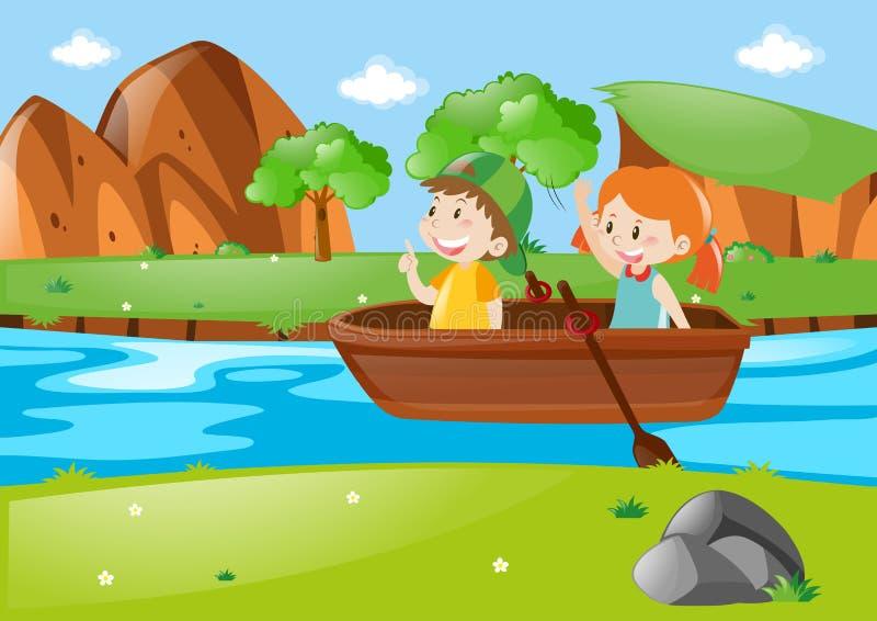 Barco de enfileiramento de duas crianças ilustração stock