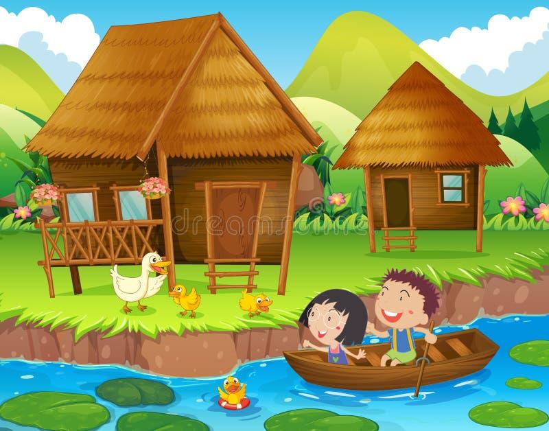 Barco de enfileiramento de duas crianças no rio ilustração do vetor