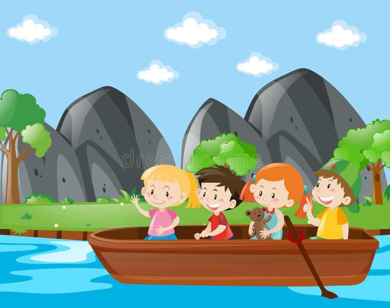Barco de enfileiramento de quatro crianças ao longo do rio ilustração stock