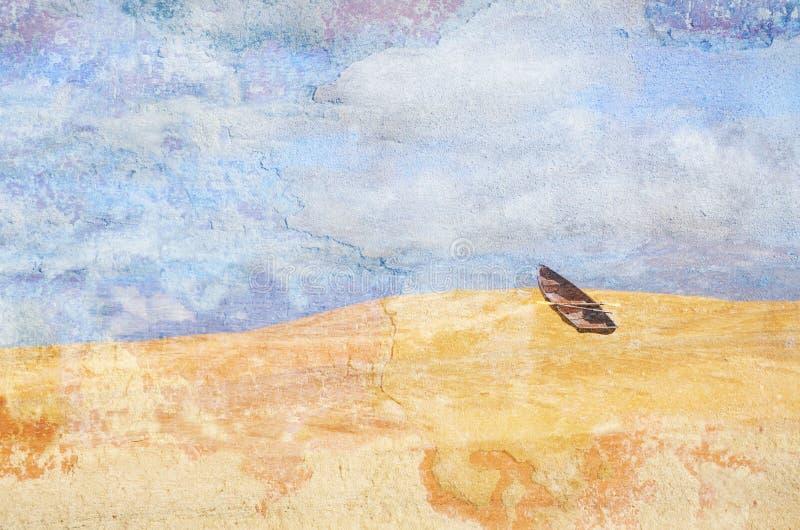 Barco de fila surrealista abandonado en el desierto Imagen texturizada Grunge fotos de archivo