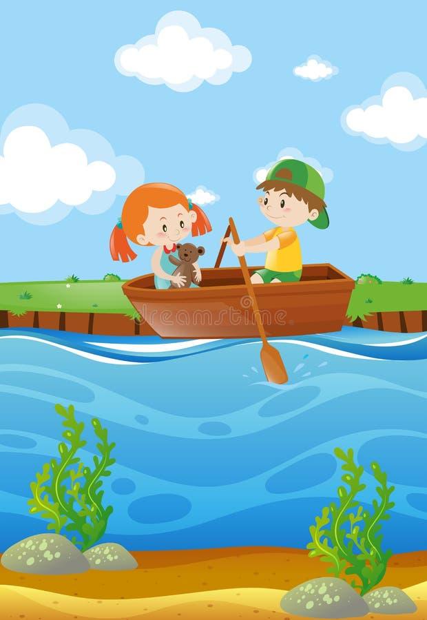 Barco de fileira de duas crianças no rio ilustração do vetor