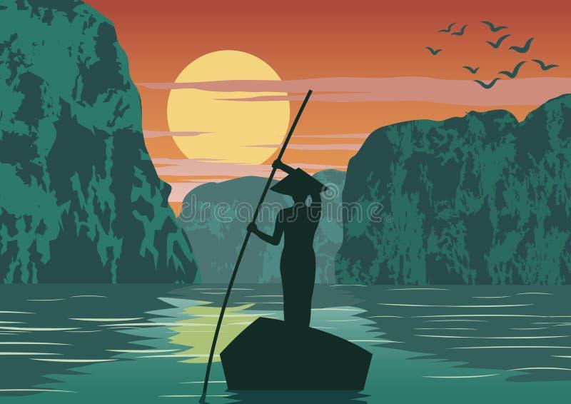 Barco de fileira do homem a ir voltar em casa pelo marco famoso da baía longa do Ha da passagem de Vietname, cor do vintage ilustração do vetor