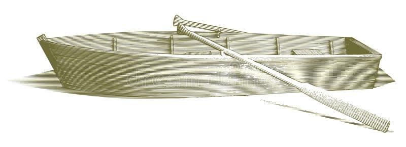 Barco de fileira gravado ilustração royalty free
