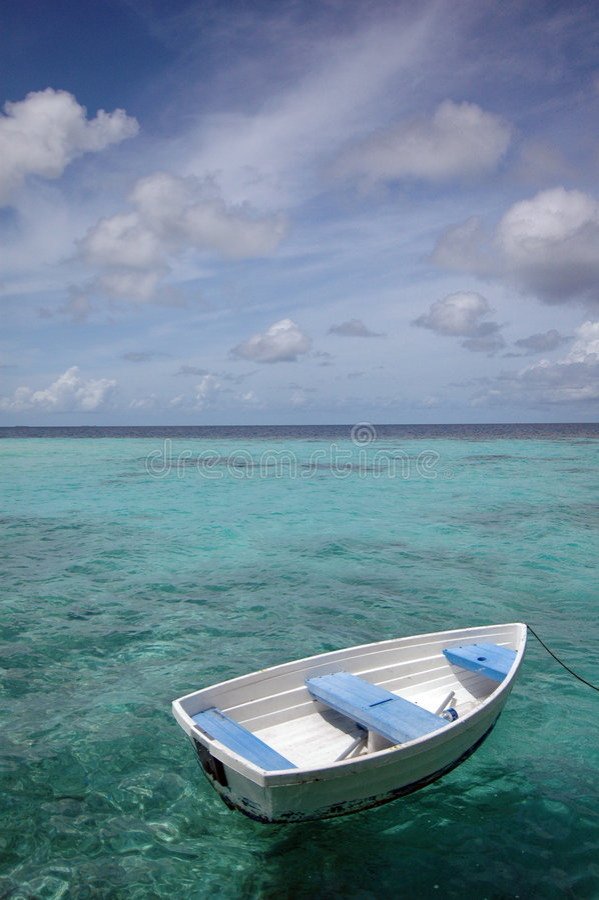 Barco de fileira no mar fotografia de stock royalty free
