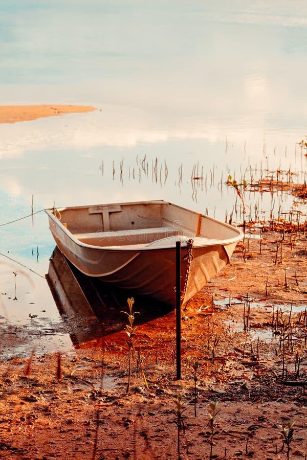 Barco de fileira no raso fotografia de stock