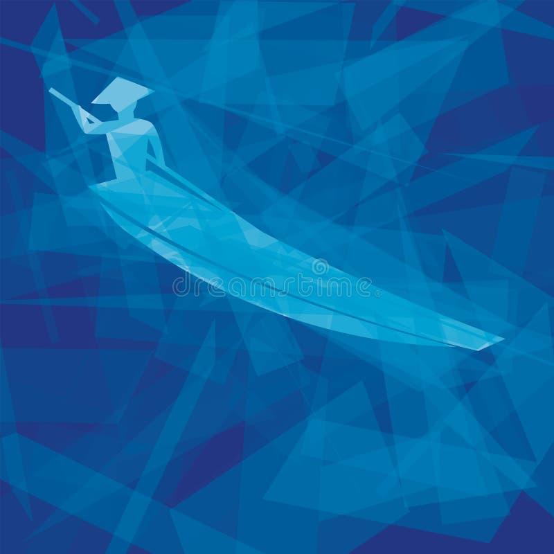 Barco de fileira vietnamiano do homem ilustração do vetor