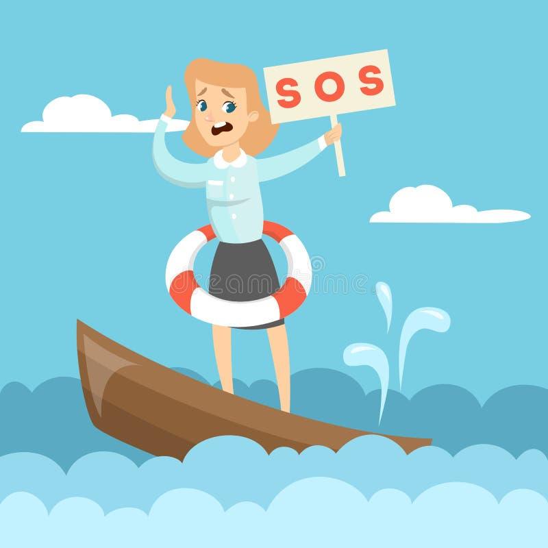 Barco de hundimiento del negocio ilustración del vector
