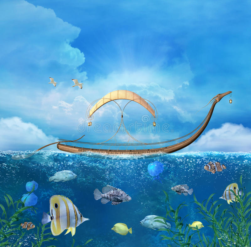 Barco de la fantasía stock de ilustración