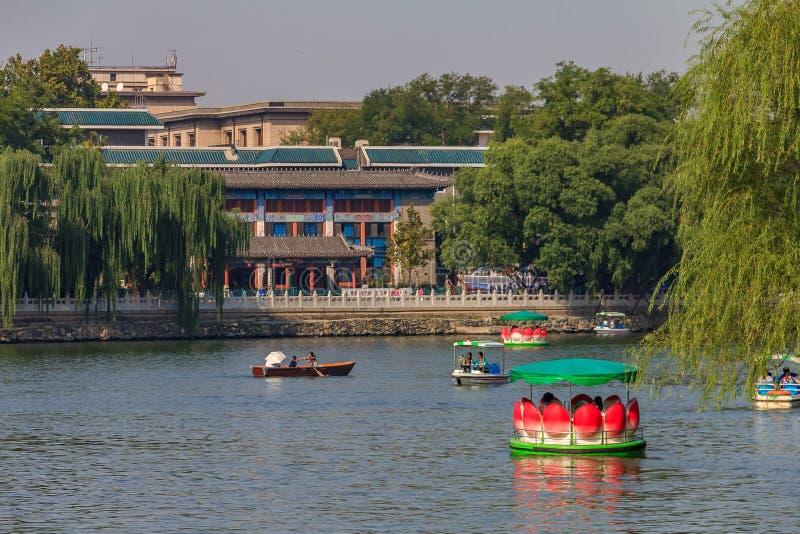 Barco de la flor de Lotus en el lago en el parque de Beihai por el Yon budista fotos de archivo libres de regalías
