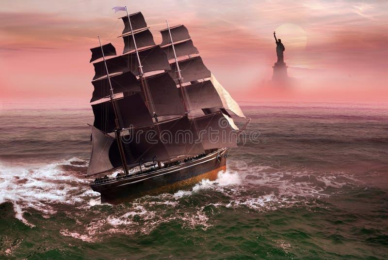 Barco de la libertad stock de ilustración