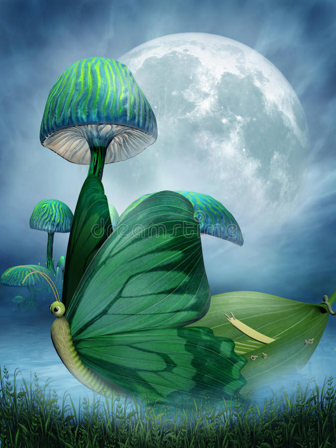 Barco de la mariposa de la fantasía ilustración del vector