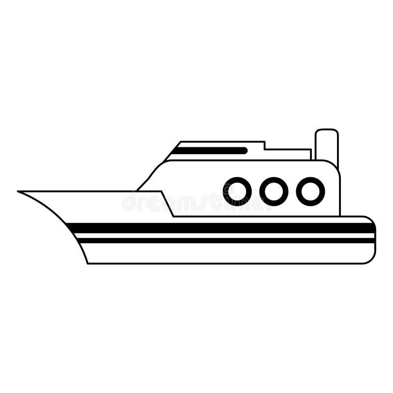 Barco de la nave del carguero blanco y negro ilustración del vector