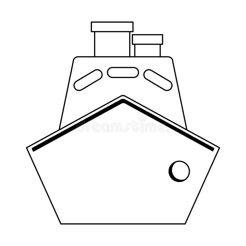 Barco de la nave del carguero blanco y negro libre illustration