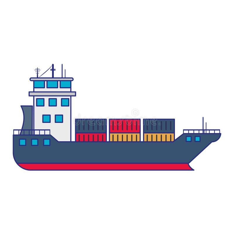 Barco de la nave del carguero con las l?neas azules de los envases stock de ilustración
