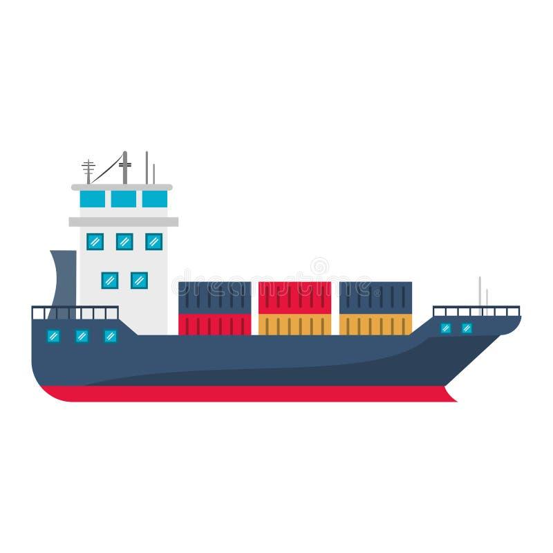 Barco de la nave del carguero con los envases stock de ilustración