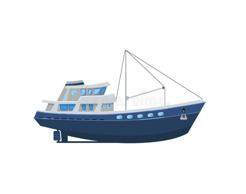 Barco de la pesca profesional aislado en el icono blanco ilustración del vector