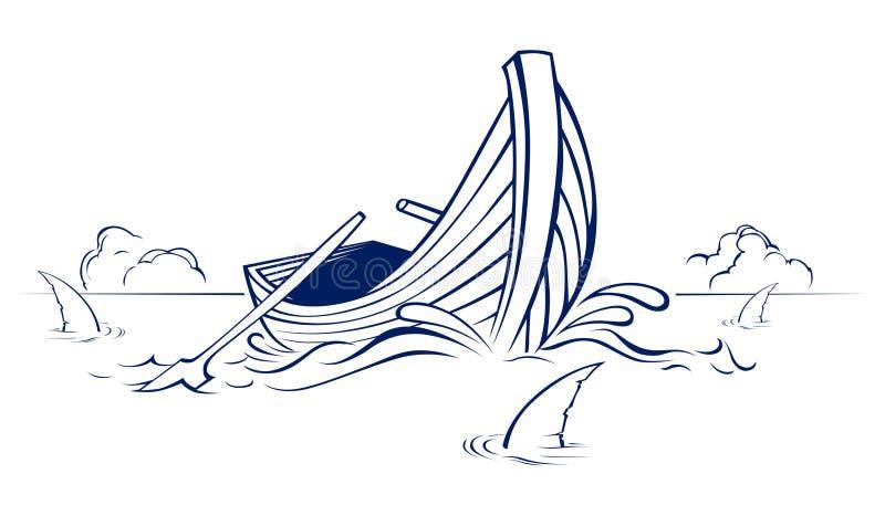 Barco de madeira com aleta do tubarão ilustração stock