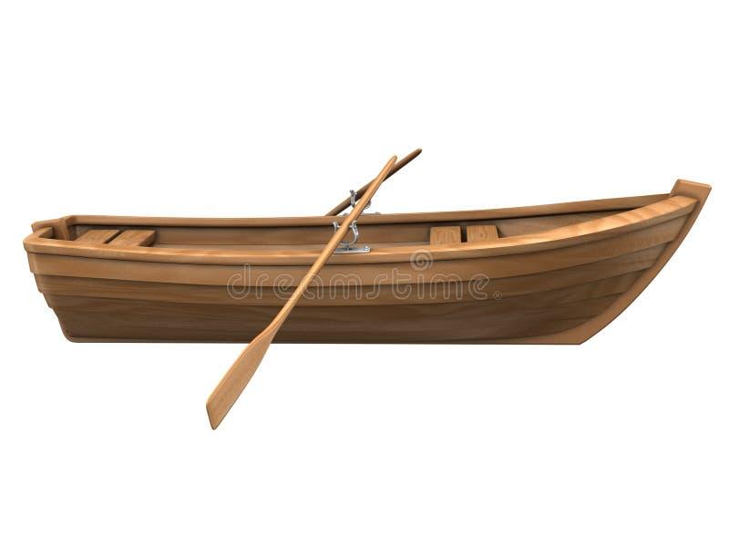 Barco de madeira isolado no branco ilustração do vetor