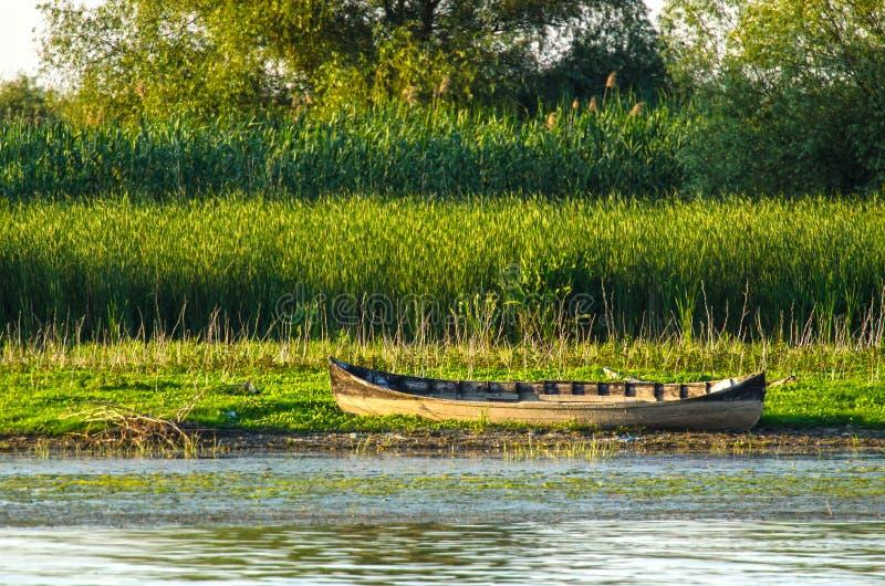 Barco de madeira velho no dunarii do delta imagens de stock