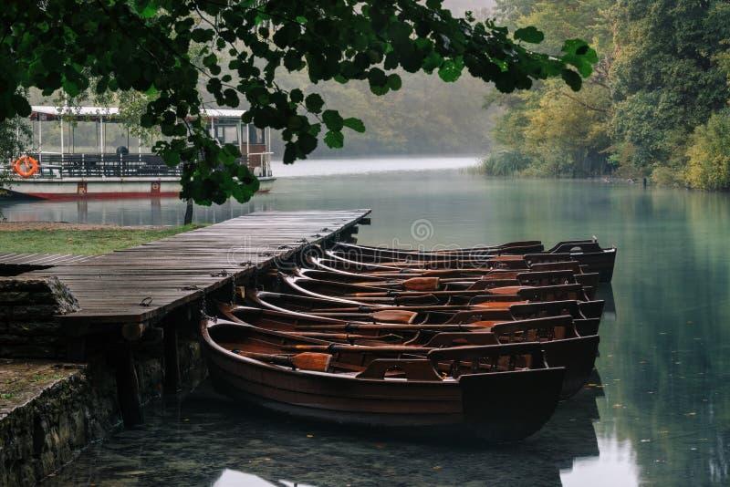 Barco de madera en el embarcadero en el lago claro hermoso en el bosque fotos de archivo
