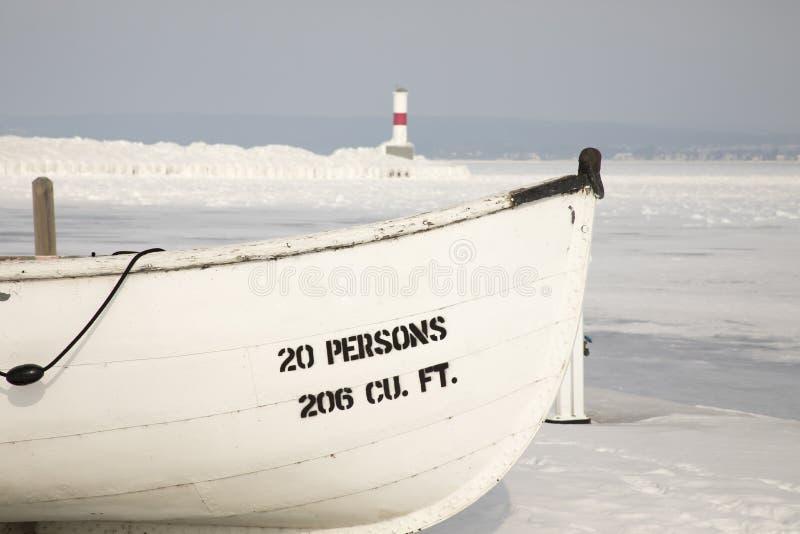 Barco de madera, faro de Petoskey Pierhead, Petoskey, Michigan adentro imagen de archivo