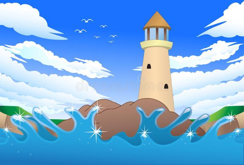 Barco de mar dos desenhos animados ilustração do vetor