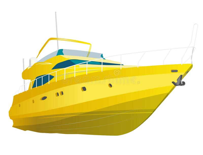Barco de motor amarelo Iate do mar pelo tempo da pesca e do lazer Barco a motor caro luxuoso ilustração do vetor