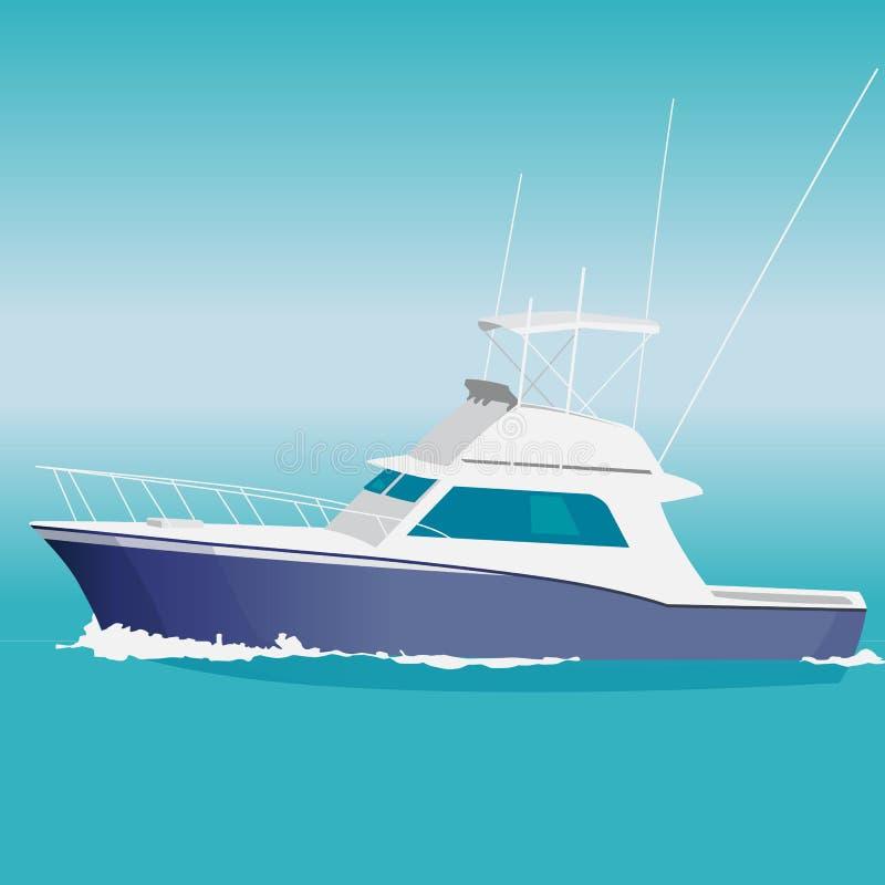 Barco de motor azul agradable en el mar ilustración del vector
