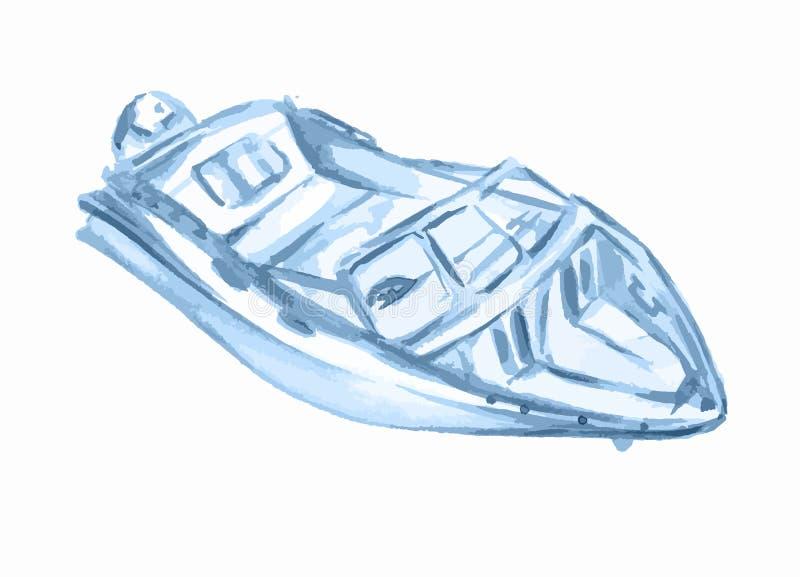 Barco de motor de la acuarela ilustración del vector