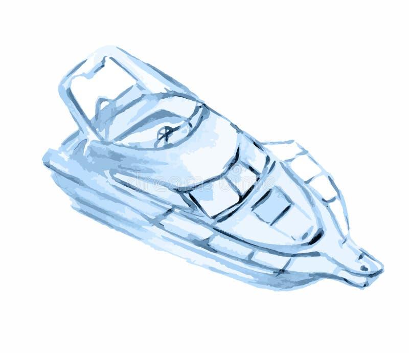 Barco de motor de la acuarela libre illustration