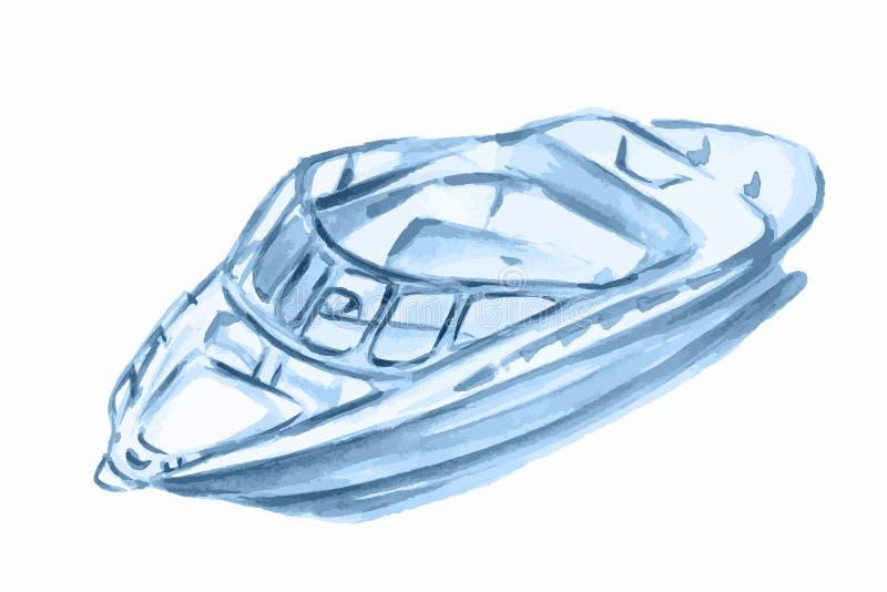 Barco de motor de la acuarela stock de ilustración