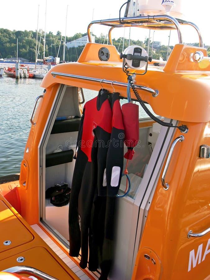 Barco de motor do salvamento fotografia de stock