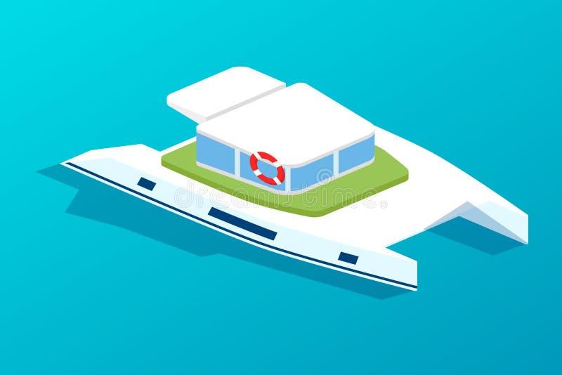 Barco de motor, navio com cabine de passageiro Transporte dos povos ilustração royalty free