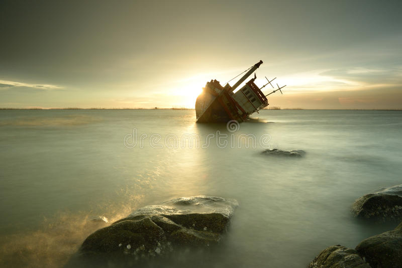 Barco de naufrágio fotografia de stock
