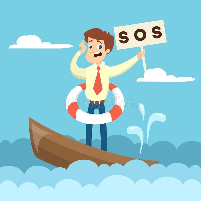 Barco de naufrágio do negócio ilustração stock