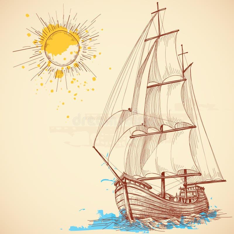Barco de navegación ilustración del vector