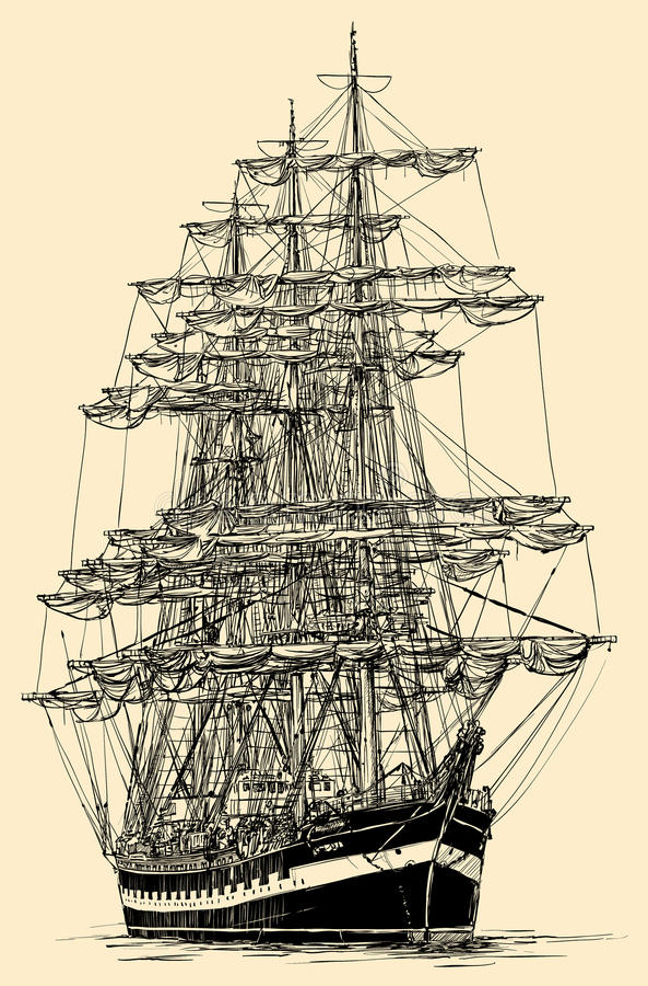 Barco de navegación stock de ilustración