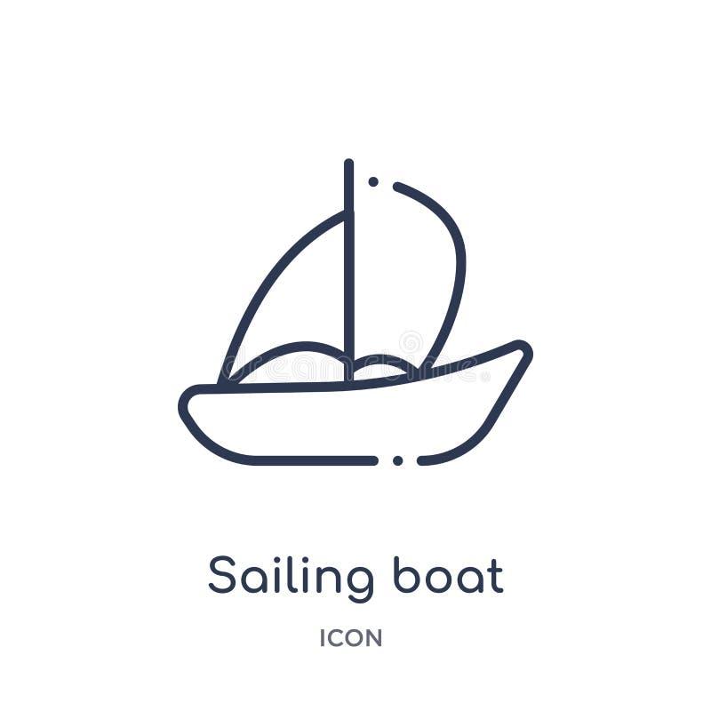 barco de navegación con el icono de los velos de la colección del esquema del transporte Línea fina barco de navegación con el ic libre illustration