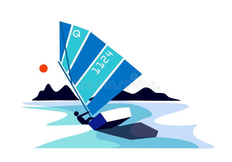 Barco de navegación del optimista ilustración del vector
