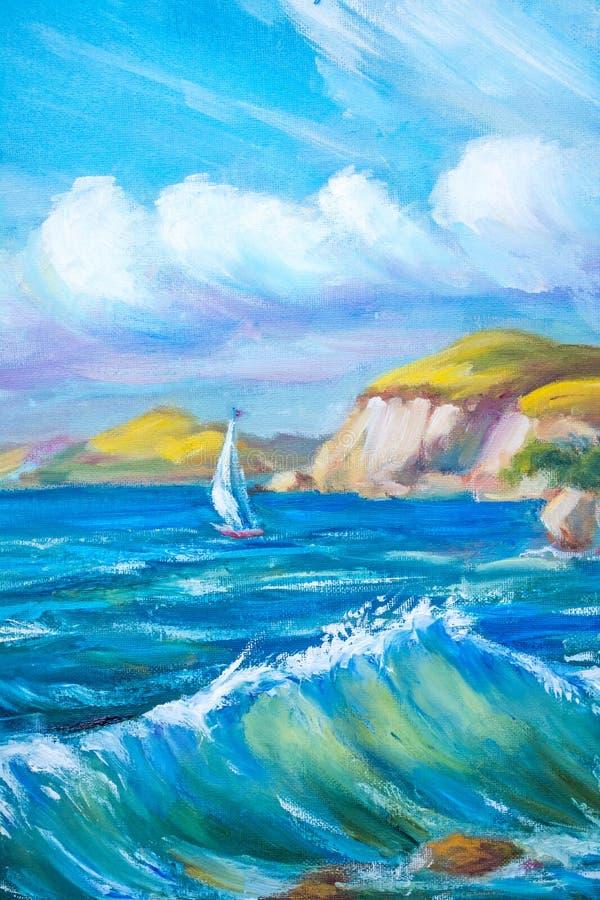 Barco de navegación en el mar libre illustration