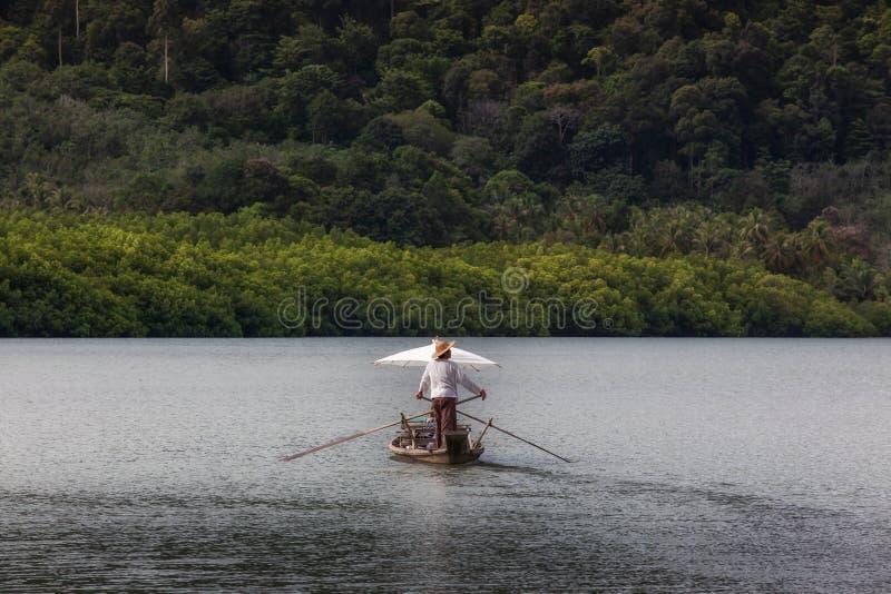 Barco de navegación para el viajero en bosque del mangle en la isla de Koh Chang foto de archivo