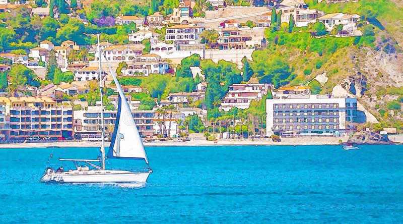 Barco de navegaci?n que fluye en el mar abierto, acuarela pintada fotografía de archivo