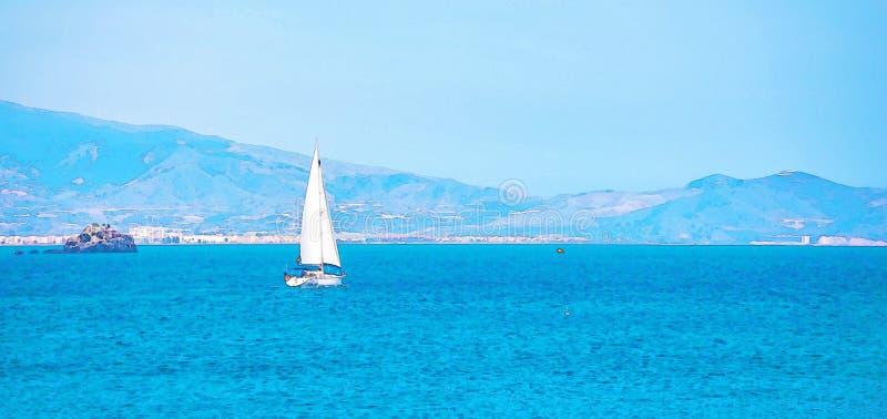 Barco de navegaci?n que fluye en el mar abierto, acuarela pintada fotografía de archivo libre de regalías