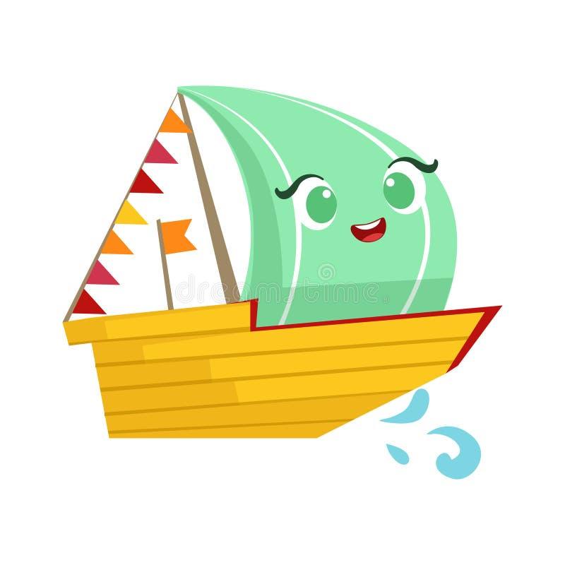 Barco de navigação da regata, desenhos animados femininos bonitos de Toy Wooden Ship With Face ilustração do vetor