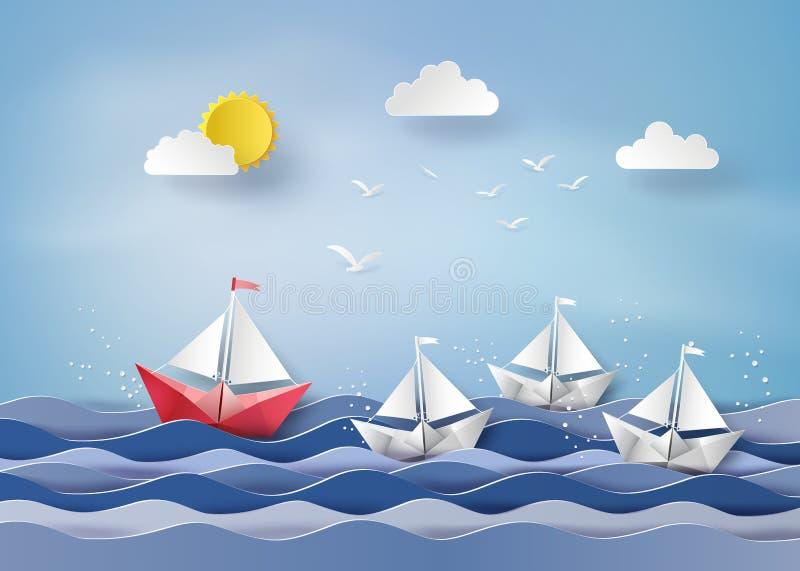 Barco de navigação de papel ilustração royalty free
