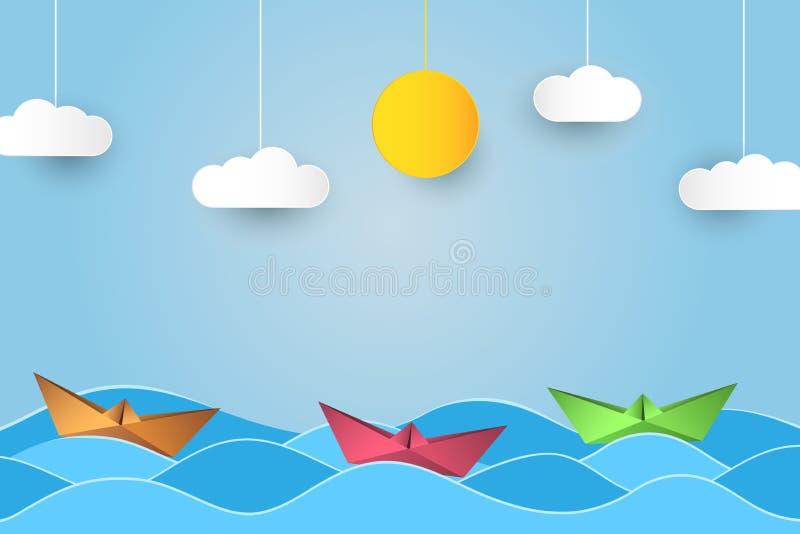 Barco de navigação do origâmi nas ondas Fundo de papel do estilo da arte com navio, oceano, sol e nuvens Vetor ilustração stock
