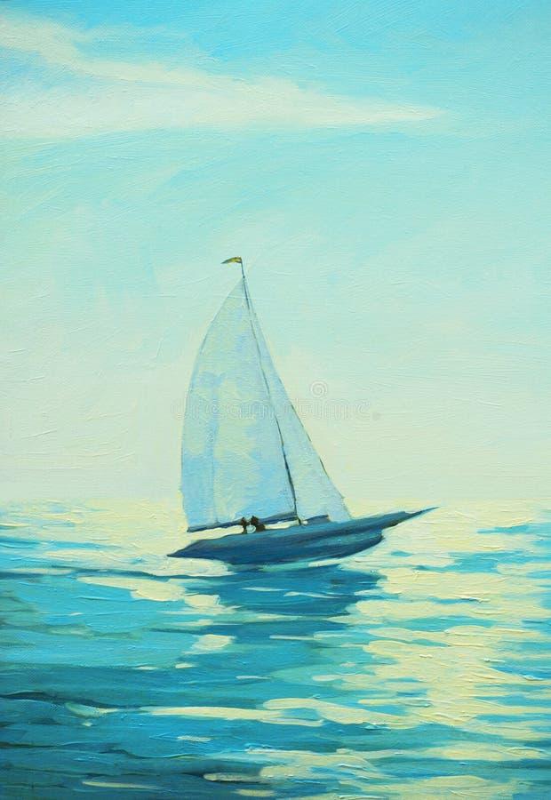 Barco de navigação no mar da manhã, pintura, ilustração do vetor