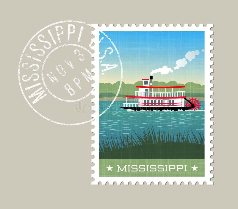 Barco de pá do navio a vapor no rio Mississípi ilustração royalty free